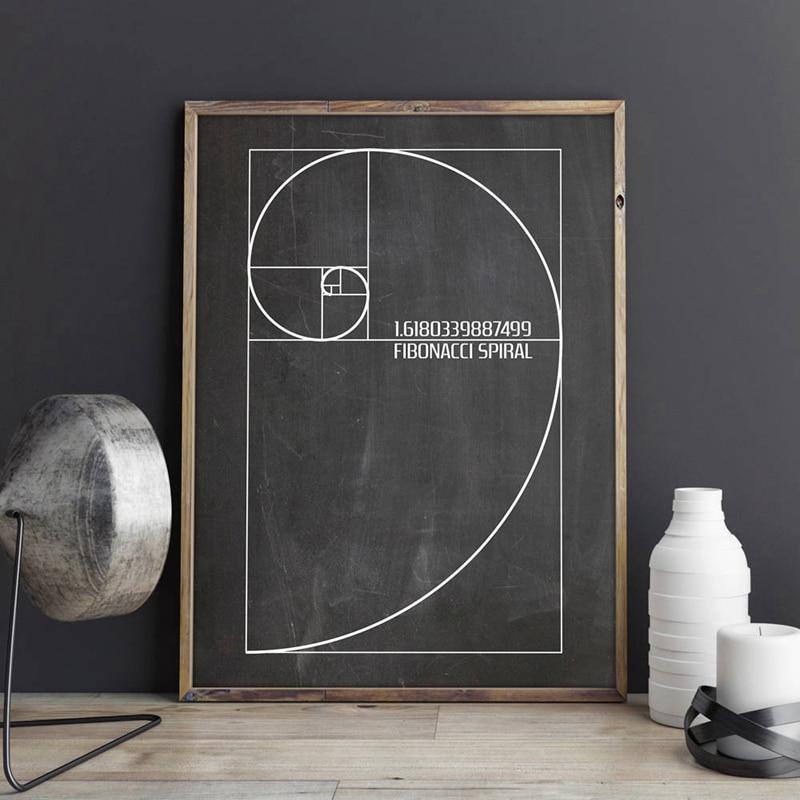 Fibonacci Spiral Patent Wall Art Canvas Painting Golden Ratio Posters And Prints Vintage Blueprint Gift Idea Science Decoration