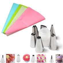 8Pcs/Set Silicone DIY Craft Flower Icing Piping Cream Pastry Bag +6 Stainless Steel Nozzle+Converter Decorating Tip Sets