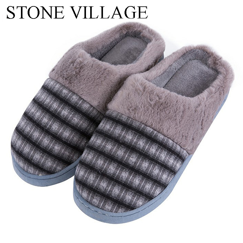 STONE VILLAGE New Lovers Winter Warm Cotton Striped Home Slippers Couples Women Men Slippers Soft Bottom Indoor Floor Shoes new new men women soft warm indoor slippers cotton sandal house home anti slip shoes