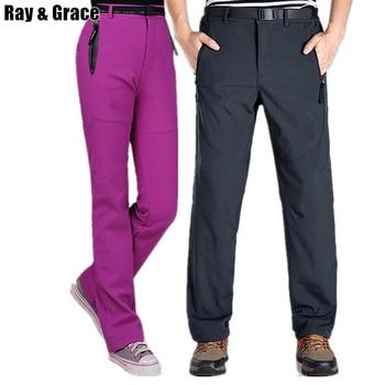 Ray grace 겨울 트레킹 양털 softshell 바지 방수 야외 바지 하이킹 캠핑 산 바지 남성 여성 플러스 사이즈