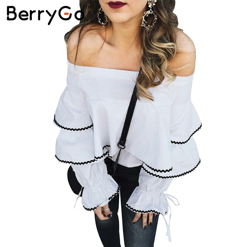 BerryGo Ruffle white   blouse   chemise Casual long sleeve   blouse     shirt   women tops Elastic cool   blouse   blusas cold shoulder tops
