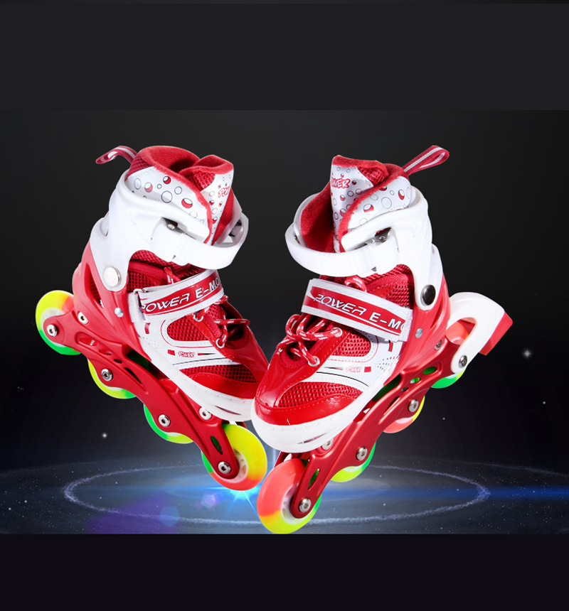 1 Pair Teenagers Children Inline Skate Roller Skating Shoes Adjustable Washable PVC Hard wheels Flashing Wheels Patines Kids new 2016 child jazzy junior girls boys led light roller skate shoes for children kids sneakers with wheels