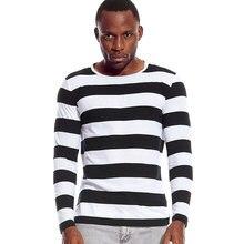 Black White Striped Tees for Men Long Sleeve Round Neck T Shirt