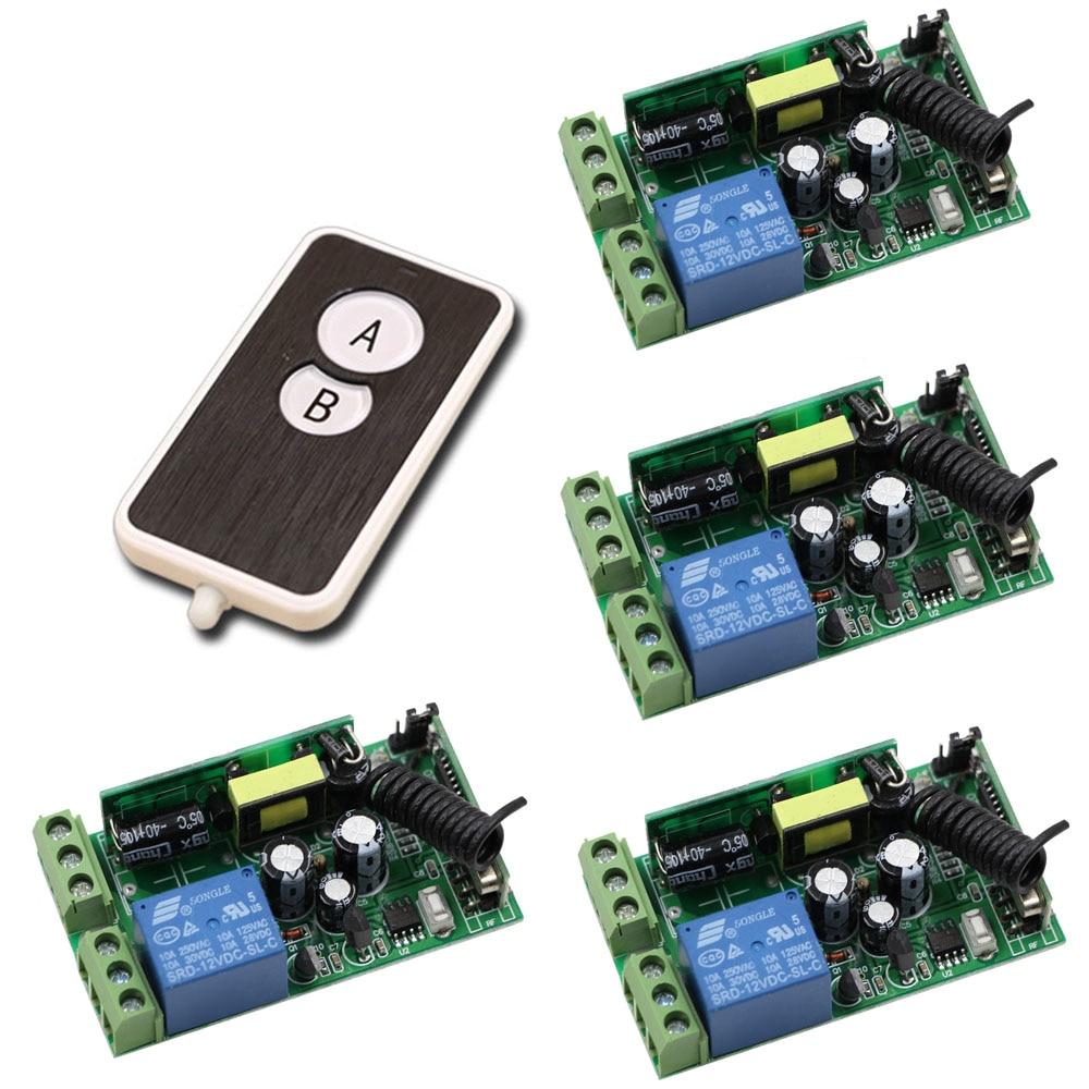 цена на Hot Sale 85V-250V Wide Range Output RF Wireless Remote Control System 4 Receiver & 1 Transmitter Smart Home Control System