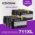 ICEHTANK 8 шт. совместимый для HP 711XL 711 XL чернильные картриджи для HP 711 DesignJet T120 T520 принтер Заправка картридж