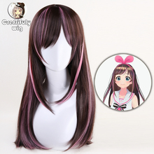 60cm Kizuna AI Wig Cosplay Costume Youtuber A.I.Channel Straight Long Heat Resistant Synthetic Hair Wigs For Women + Wig Cap