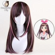 Kizuna AI perruque synthétique lisse et longue + bonnet de perruque pour femmes, 60cm, pour Costume de Cosplay Youtuber A.I.Channel