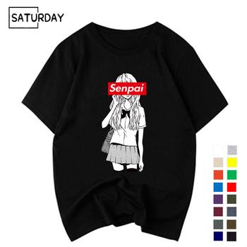 Męskie Senpai dziewczyna anime Nerdy bawełna czarny t-shirt z nadrukiem kobiety Manga Streetwear Tee bawełniana koszulka Unisex ubrania w stylu harajuku tanie i dobre opinie NoEnName_Null Krótki Tees Na co dzień Topy Drukuj COTTON Regular O-neck Suknem