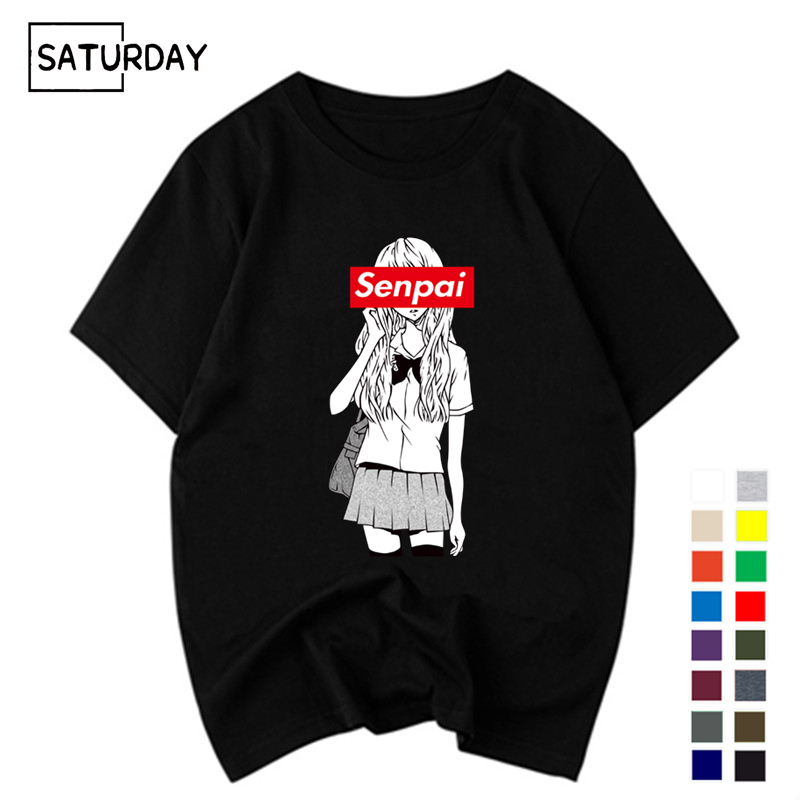 Men's Senpai Anime Girl Nerdy Cotton Black Print T-shirt Women Manga Streetwear Tee Cotton Tshirt Unisex Harajuku Clothes