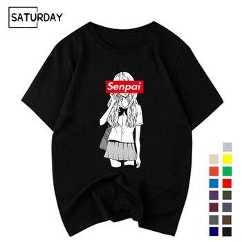 Mens Senpai Anime Girl Nerdy Cotton Black Print T-shirt Women Manga Streetwear Tee Tshirt Unisex Harajuku Clothes
