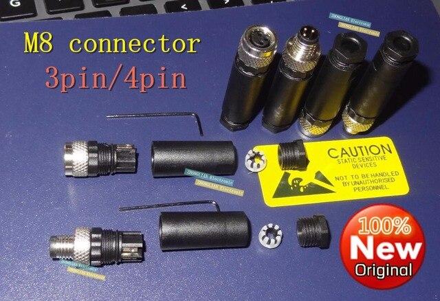 1pcs/lot  M8 connector stock M8 connecting wire 3 core 4 core female waterproof aviation plug sensor straight