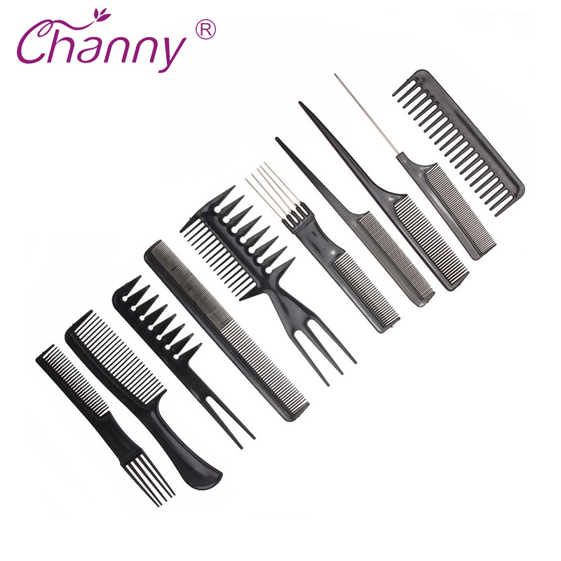 Channy Hairbrush 10pcs/Set Combs Hairdressing Comb Anti static Salon Barber Beauty Tool Styling Tools Hair Care
