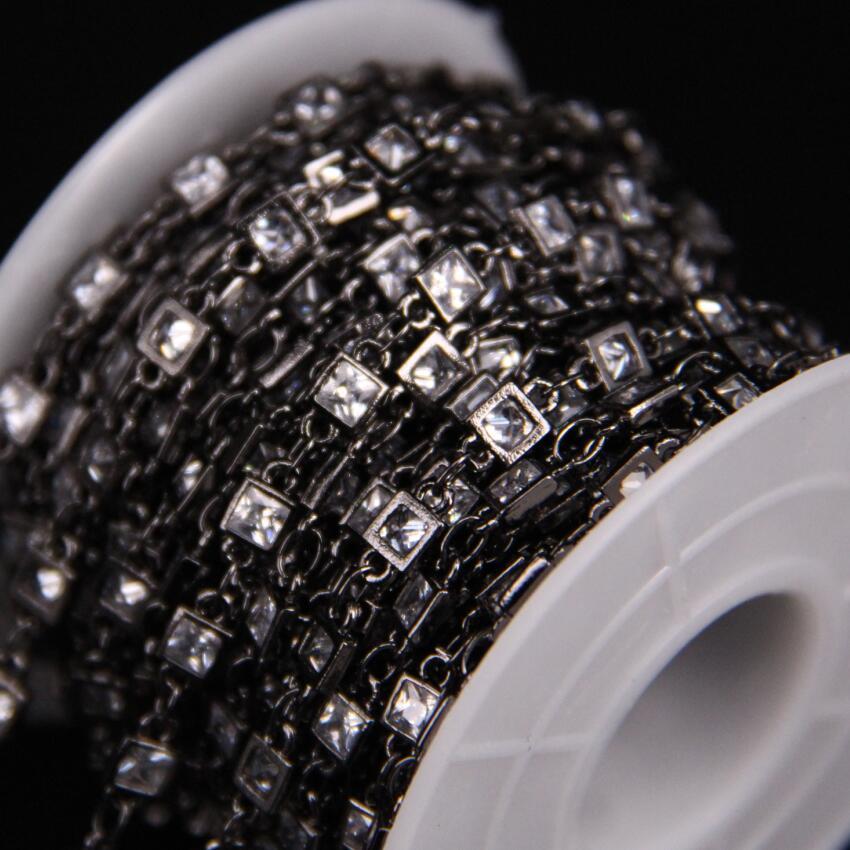 3mm, facetté carré Zircon lien métal chaîne noire, blanc cubique Zircon cristal lunette connecteur chapelet chaîne, CZ pistolet noir boucles d'oreilles - 6