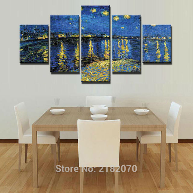 5 Pieces HD Print Painting Starry Night On The Rhone River Picture For  Modern Decorative Bedroom