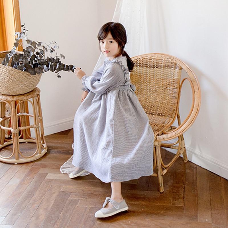 Autumn Winter Spring Girl Fall Dresses Petal Sleeves Maxi Long Teen Children Dresses Girls 12 10 14 Years Striped Cotton