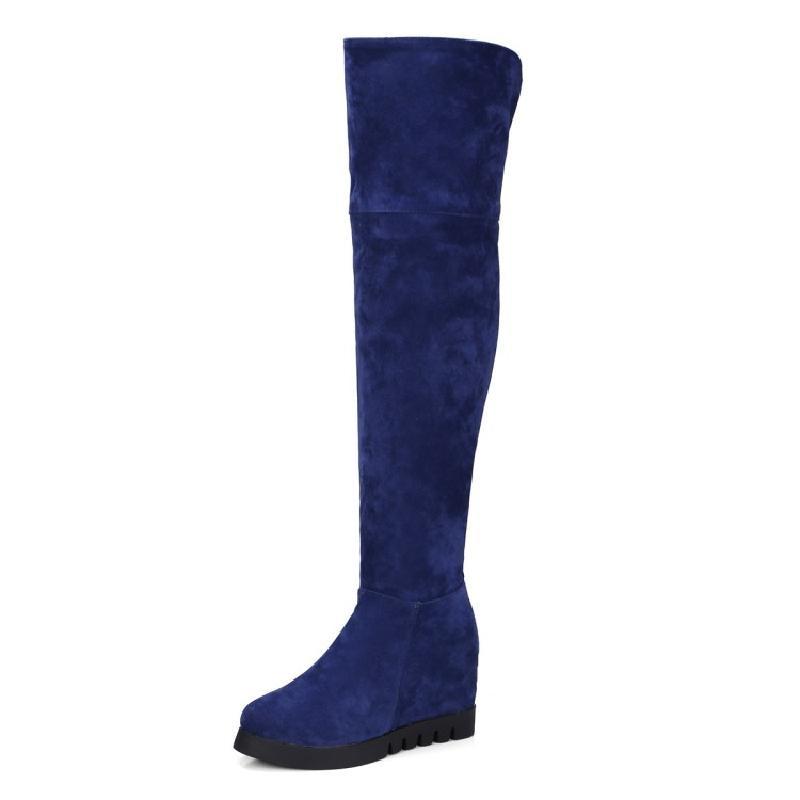 SALCXO winter boots women knee high boots height increasing high boots flock blue women boots female autumn women shoes &9522-2 memunia cow split knee high boots solid flock height increasing women boots in autumn winter elegant fashion boots zip work