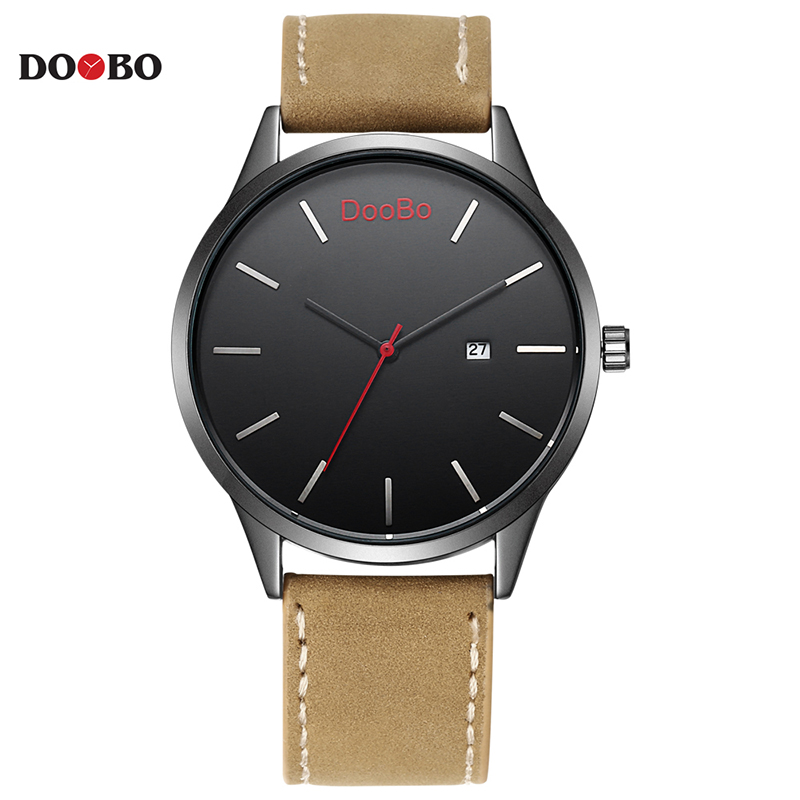 DOOBO Luxury Brand Original Relogio Masculino Date Leather Casual Watch Men Sports Quartz Military WristWatch Male Clock 2017 luxury brand men s quartz date week display casual watch men army military sports watches male leather clock relogio masculino