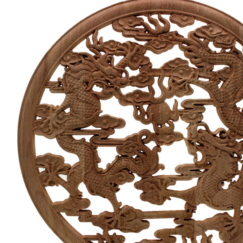 Floral Woodcarving Decal European Style Rubber Wood Carved Corner Applique Decor Frame Wall Doors Decorative Figurines