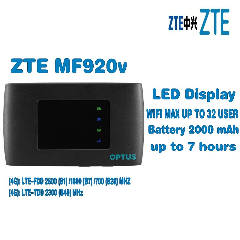 Unlocked ZTE MF920 MF920V 4G FDD/TDD-LTE Wifi Router Max Up 32 Devices LED unlocked zte mf920 4g