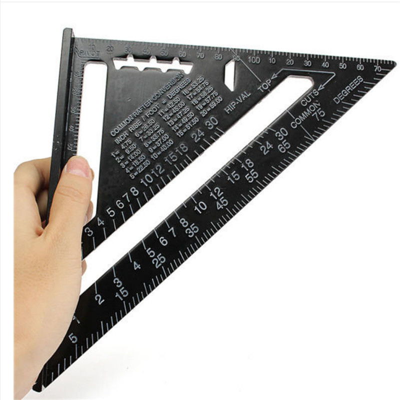 7inch/12inch  Metric System Triangular  Measuring Ruler Aluminum Alloy Speed Square Roofing Woodworking Measuring Tools TP-011