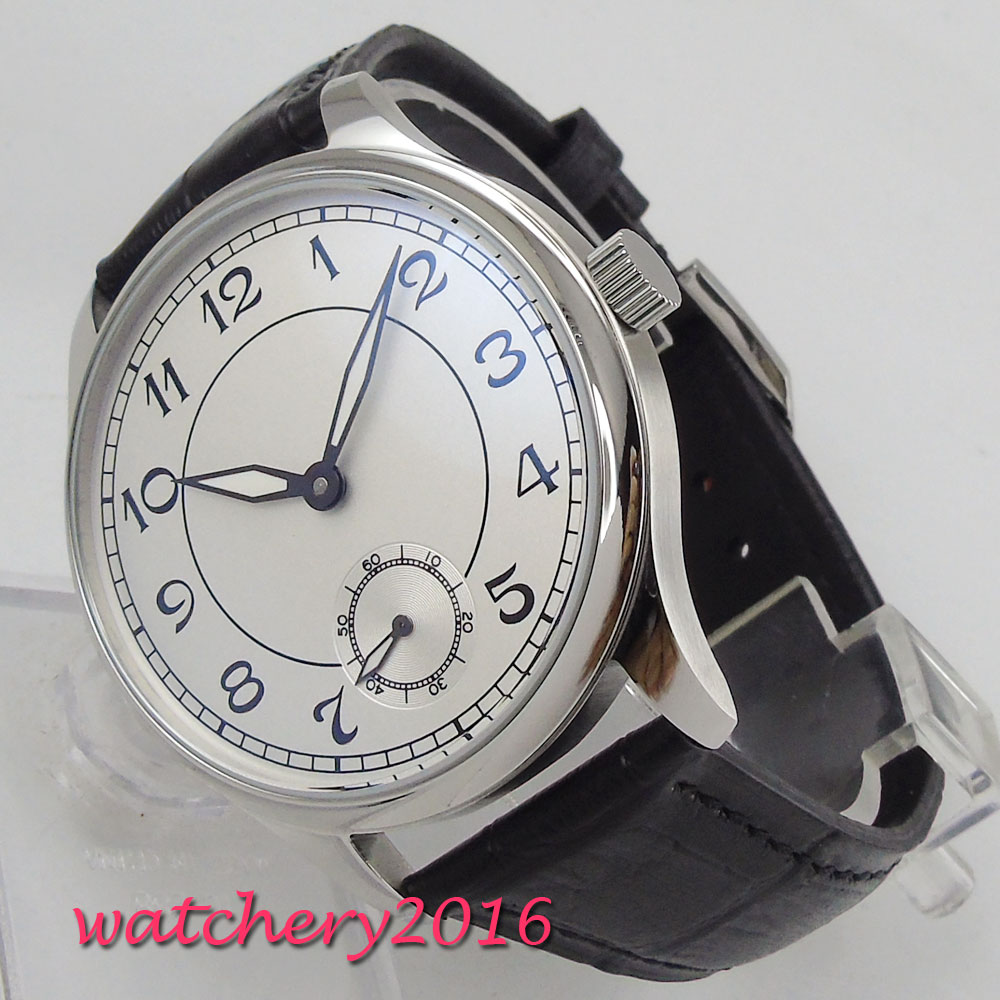 44mm PARNIS White Dial Valentines gifts Romantic Stainless steel Case Leather strap 6498 Hand Winding movement men's Watch anne klein 9787 mpsv