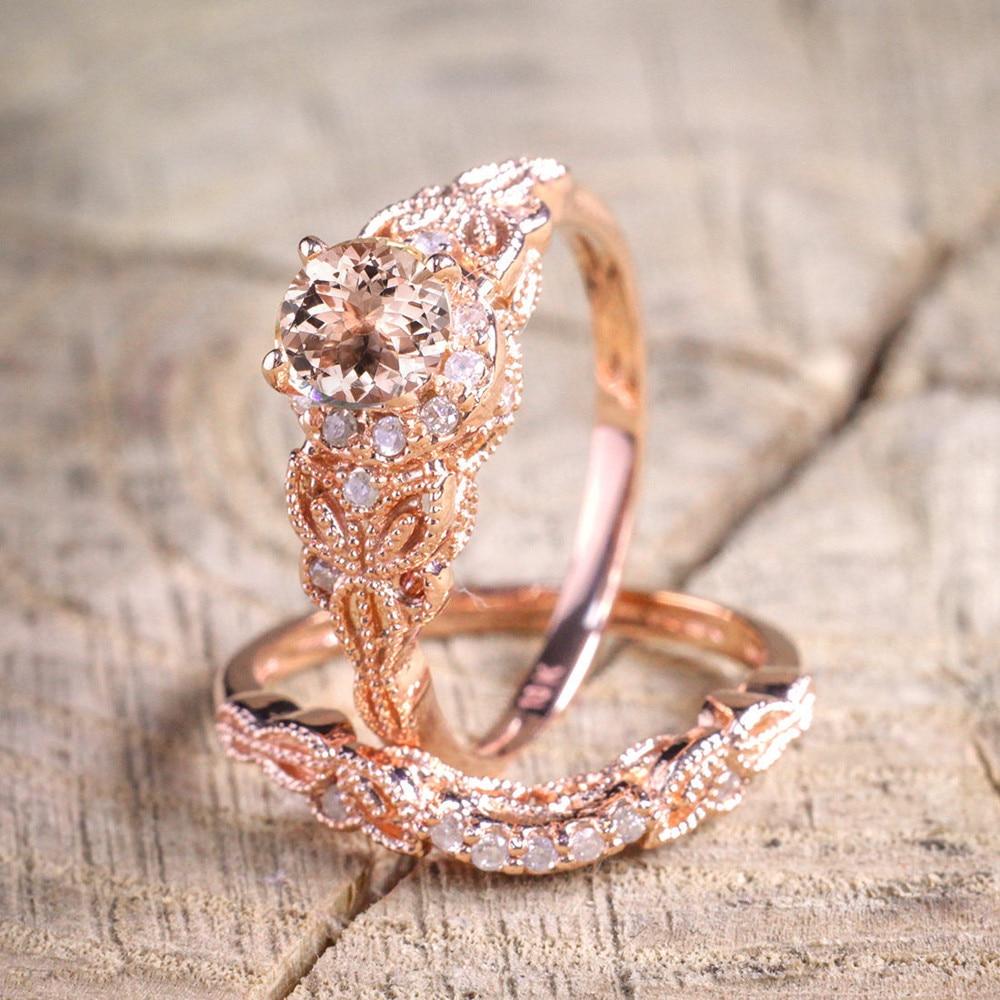 2018 New Women 1Pair Ring/Set Rose Gold Filled Wedding Engagement Ring For #NE822-in Wedding ...