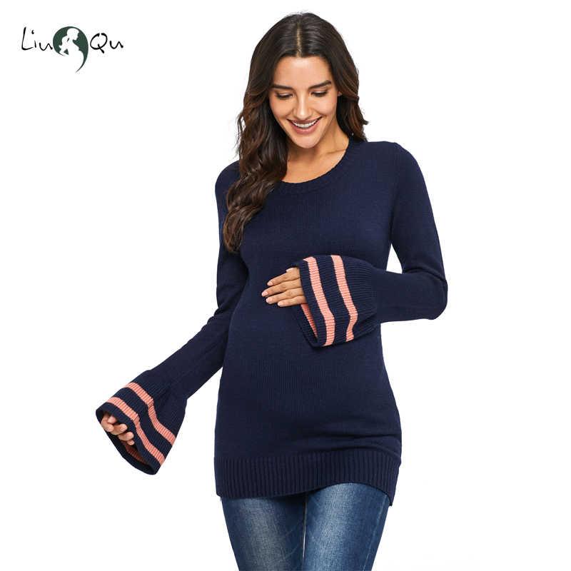 Рог рукав с длинным рукавом уход для беременных свитер женские для беременных пуловеры свитер Вязание платья зимние Костюмы