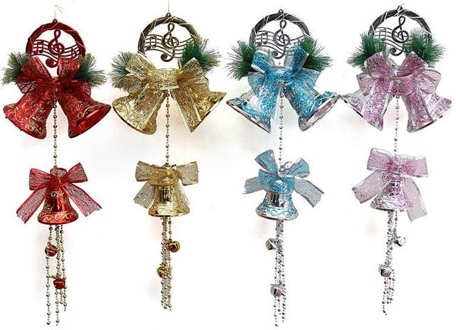 55cm jingle bell bow music symbol beads strap garland christmas tree