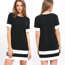 2019 summer new womens solid color black and white horizontal striped short-sleeved dress T-shirt BONJEAN