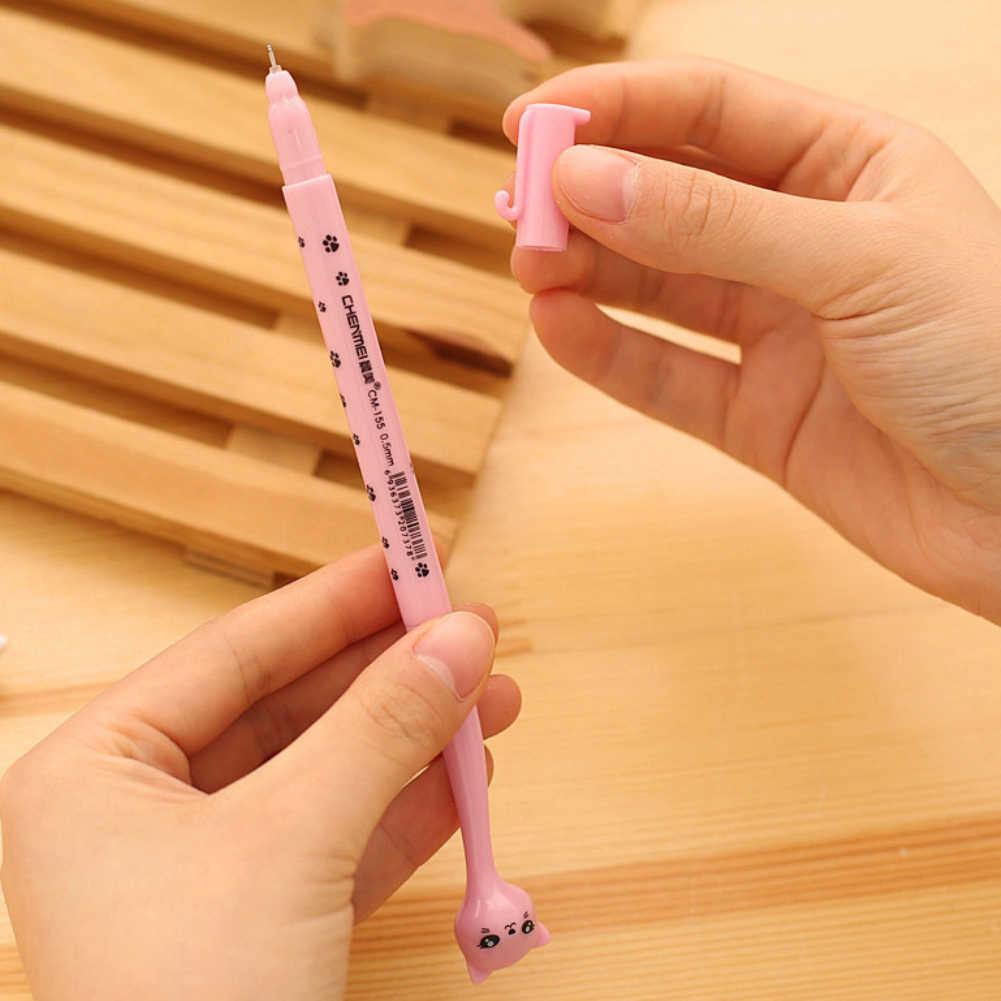 1 sztuk kreatywny piśmienne uczeń długopis słodki kociak długopis 0.5mm pełna igła czarne pióro wieczne szkolne materiały biurowe 2018 nowy