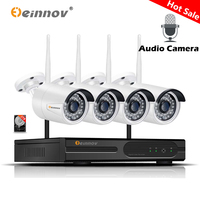 Einnov 4CH Audio System Video Surveillance Camera 1080P HD Home Security Wireless Camera CCTV Wifi NVR IP Camera Wi Fi IR Light