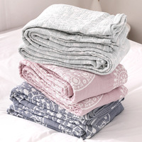 Junwell 100% Cotton Muslin Blanket Bed Sofa Travel Breathable Chic Mandala Style Large Soft Throw Blanket Para Blanket