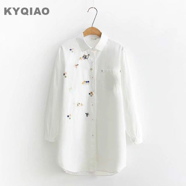 Kyqiao Vintage Denim Shirt 2019 Women Autumn Winter Loose Japanese Style Fresh Long Sleeve Cat Embroidery Denim Blouse Women's Clothing