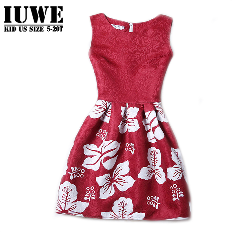 Girl Dress Summer 2016 Dresses For Girls Of 12 Years Sleeveless Printed Big Size Brand Princess