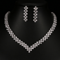 Beautiful Sparkling Cubic Zirconia African Beads Jewelry Sets for Women Bridal Gifts White Gold Color Earring Necklace S 055