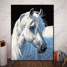 DIY Numbers Painting White Horse Vintage Home Decorations Paint By Numbers Animal Number Painting Coloring by Numbers Dropship 0329zc066 home wall furniture decorations diy number oil painting children graffiti sandy beach coconut tree painting by numbers