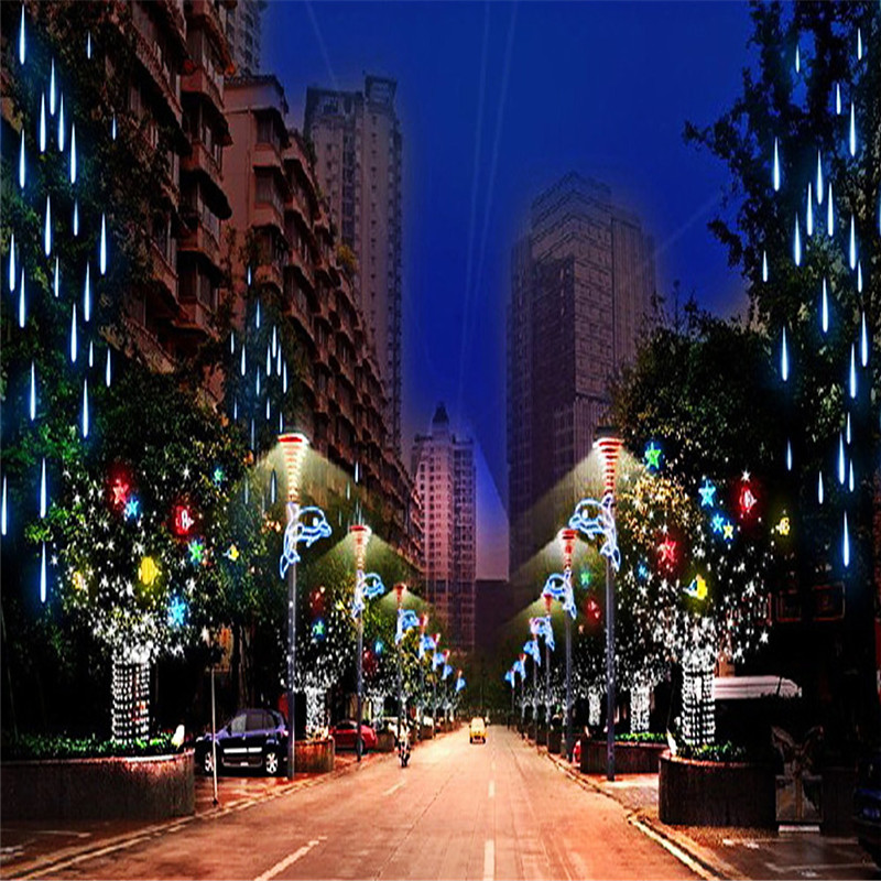 30CM LED Waterproof Meteor Shower String Light Rain Tube Decorative Hanging Light Christmas Bulb Garland Birthday Party Garden