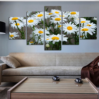 5 Panelen Moderne Wit Zonnebloem Bloemen Poster Prints Op Canvas Woonkamer Modulaire Muur Foto Home Decoratie Unframed