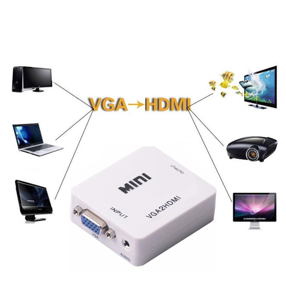 Image 5 - VGA to HDMI Converter Scaler Adapter Box PC2TV Female Connector USB Power Supply For Laptop PCsHDTV DVD PS23 XBOX Free Shipping-in Computer Cables & Connectors from Computer & Office