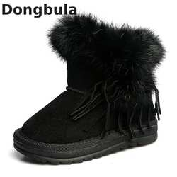 Зимние сапоги для мальчиков и девочек, зимняя обувь, модная повседневная обувь с кисточками, сапоги принцессы для девочек, 2018 Детские