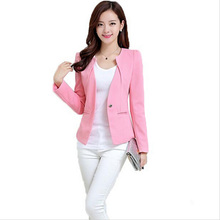 Spring Women Slim Blazer Coat 2016 New Fashion Casual Jacket Long Sleeve One Button Suit Ladies Blazers Work Wear