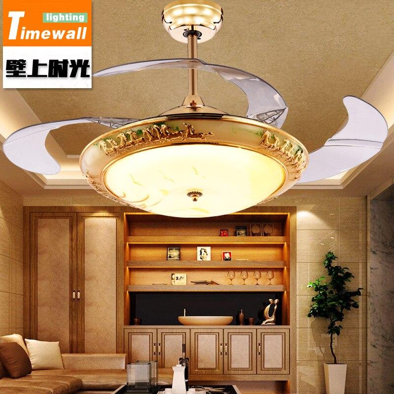 European stealth fan lamp <font><b>chandelier</b></font> crystal glass fan lamp living room dining room bedroom quiet fan lamp