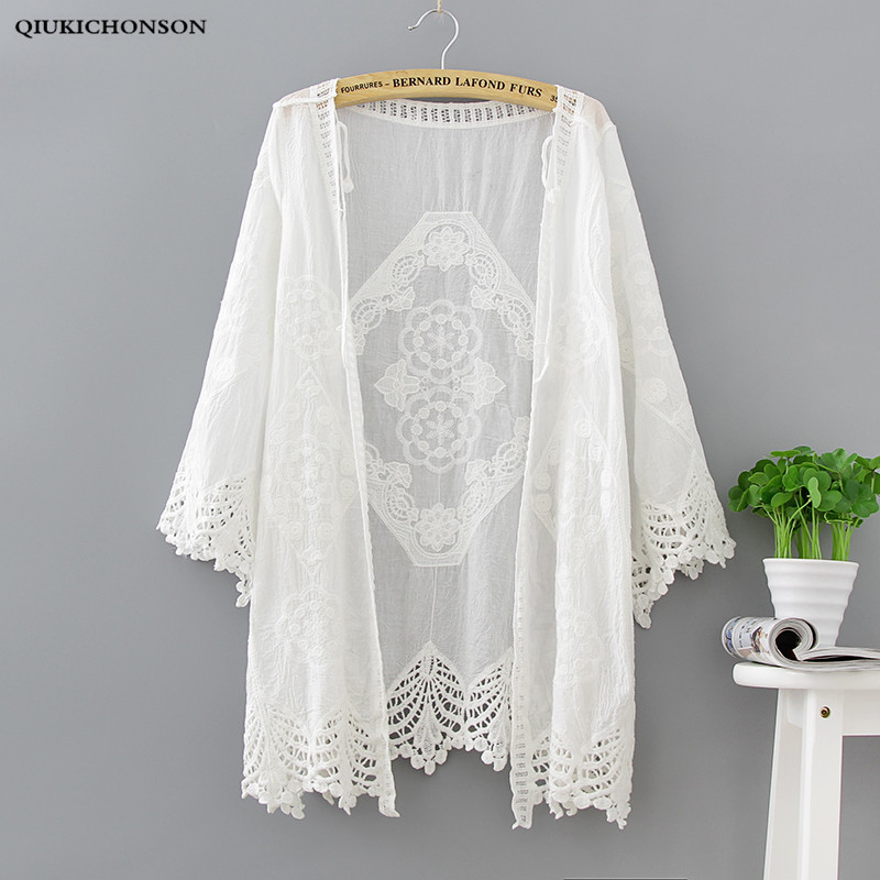 Qiukichonson Women Summer Cardigan White 2018 Bohemian Sweet Ladies Lace Cardigans Long V-Neck Hollow Out Crochet Embroidery Top