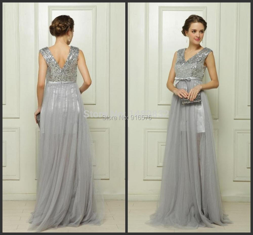 2015 V Neck Silver Gray Sequin Bridesmaid Dresses Plus Size Formal ...