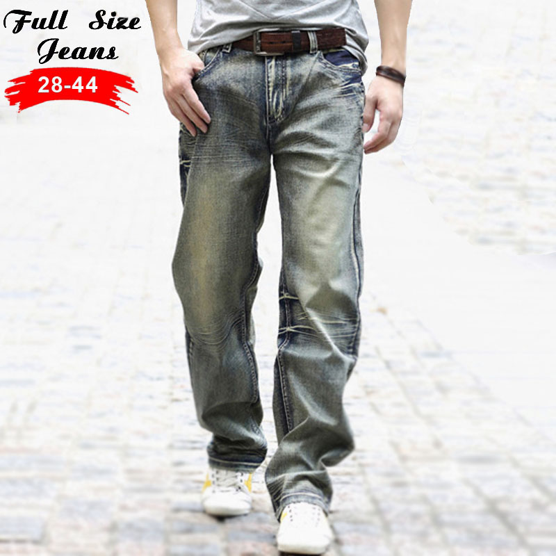 ФОТО Designer New Plus Size  Mens Destroyed Jeans 42 44  5XL 6XL 7XL Big Size Vintage Retro Wid leg Ripped Jeans Brand Denim Jeans