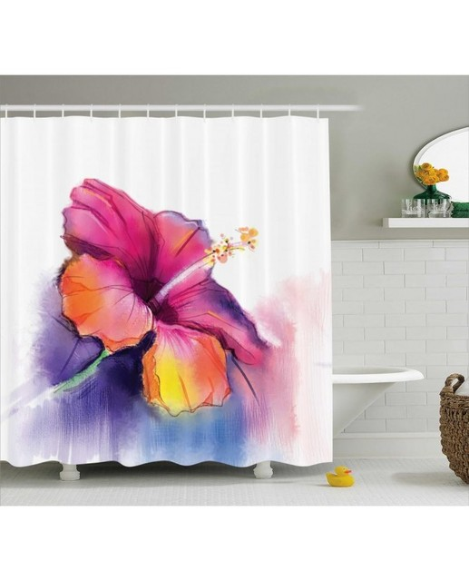 Floral Shower Curtain Hibiscus Flower Pastel Print For Bathroom Waterproof And Fabric Romantic