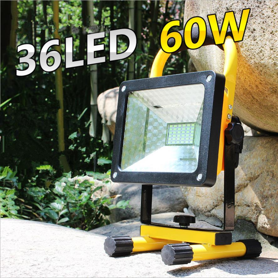 Stalwart Large 60 Led Rechargeable Work Light: High Power Waterproof LED Flood Light 60W Portable