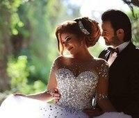 Vestidos de novia 2018 Элегантный Жемчуг Блестки Длинные платья для свадьбы Sheer индивидуальный заказ поезд Свадебные платья Robe De Mariage