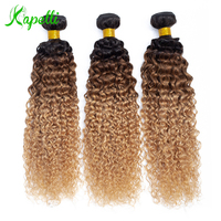 Ombre Kinky Curly Hair Brazilian Human Hair Weave Bundles1b/30/27 Remy Hair Extensions Three Tone Blonde Bundles 1/3 /4 Bundles