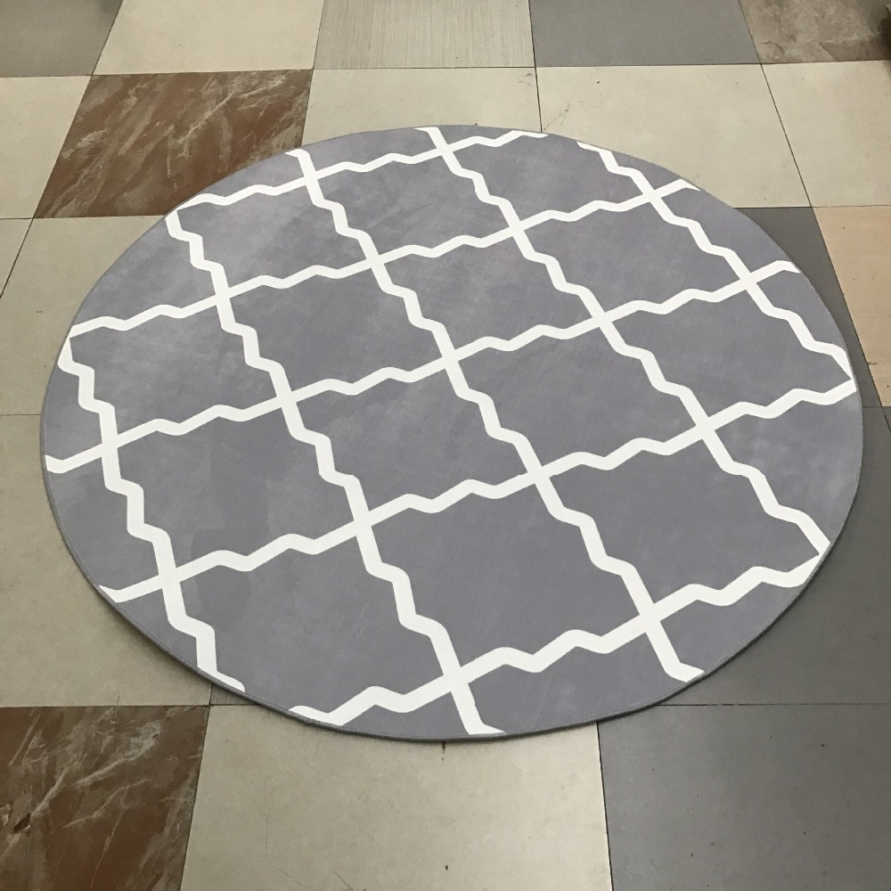 Modern Grey Geometric Round Area Rug 80c/100/120/160cm Alfombras Dormitorio  Tapijt
